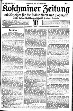 Koschminer Zeitung und Anzeiger für die Städte Borek und Pogorzela vom 20.03.1915