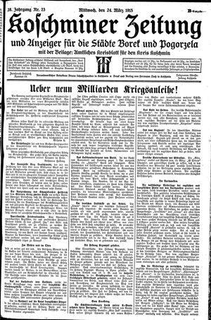 Koschminer Zeitung und Anzeiger für die Städte Borek und Pogorzela vom 24.03.1915