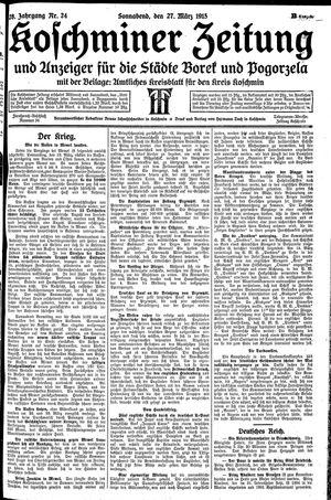 Koschminer Zeitung und Anzeiger für die Städte Borek und Pogorzela vom 27.03.1915