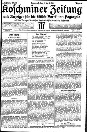 Koschminer Zeitung und Anzeiger für die Städte Borek und Pogorzela vom 03.04.1915