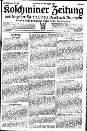 Koschminer Zeitung und Anzeiger für die Städte Borek und Pogorzela vom 14.04.1915