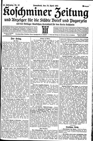 Koschminer Zeitung und Anzeiger für die Städte Borek und Pogorzela vom 24.04.1915