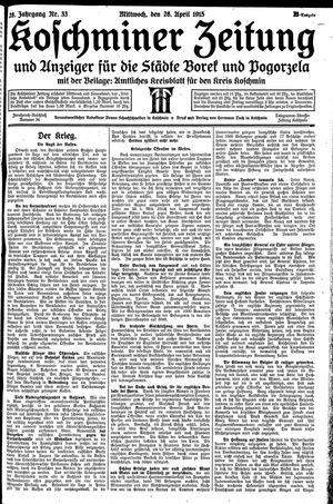 Koschminer Zeitung und Anzeiger für die Städte Borek und Pogorzela vom 28.04.1915