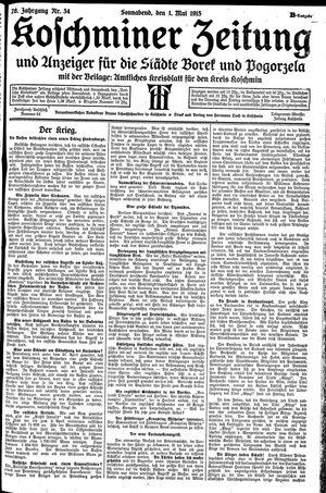 Koschminer Zeitung und Anzeiger für die Städte Borek und Pogorzela vom 01.05.1915