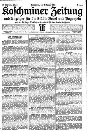 Koschminer Zeitung und Anzeiger für die Städte Borek und Pogorzela vom 08.01.1916