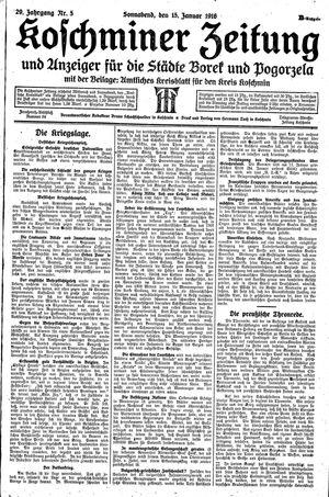 Koschminer Zeitung und Anzeiger für die Städte Borek und Pogorzela vom 15.01.1916