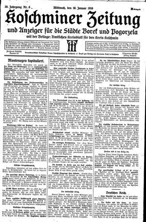Koschminer Zeitung und Anzeiger für die Städte Borek und Pogorzela vom 19.01.1916