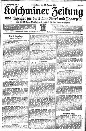 Koschminer Zeitung und Anzeiger für die Städte Borek und Pogorzela vom 22.01.1916
