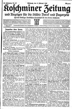 Koschminer Zeitung und Anzeiger für die Städte Borek und Pogorzela vom 02.02.1916