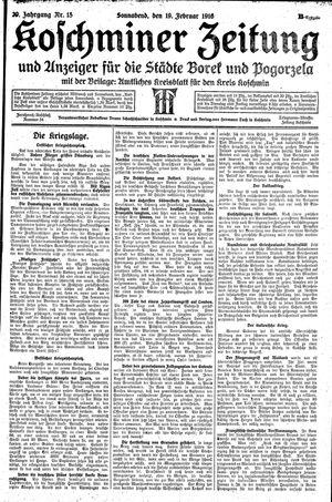 Koschminer Zeitung und Anzeiger für die Städte Borek und Pogorzela vom 19.02.1916