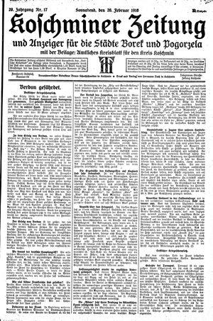 Koschminer Zeitung und Anzeiger für die Städte Borek und Pogorzela vom 26.02.1916