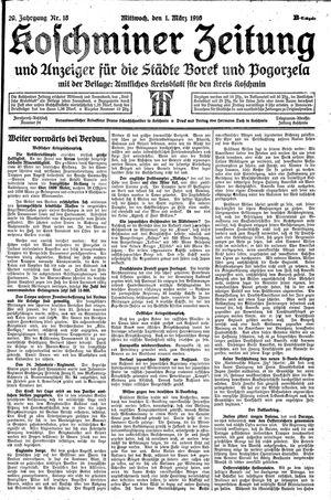 Koschminer Zeitung und Anzeiger für die Städte Borek und Pogorzela vom 01.03.1916
