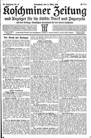 Koschminer Zeitung und Anzeiger für die Städte Borek und Pogorzela vom 11.03.1916