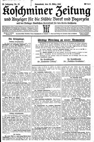 Koschminer Zeitung und Anzeiger für die Städte Borek und Pogorzela on Mar 25, 1916