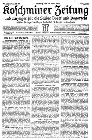 Koschminer Zeitung und Anzeiger für die Städte Borek und Pogorzela vom 29.03.1916