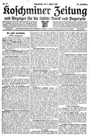 Koschminer Zeitung und Anzeiger für die Städte Borek und Pogorzela vom 01.04.1916