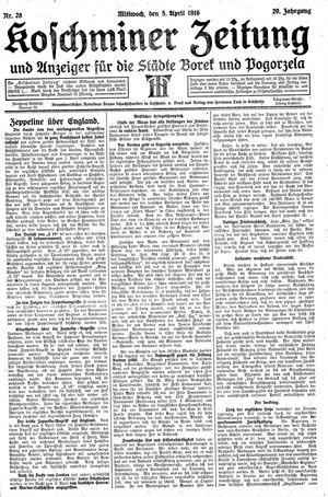 Koschminer Zeitung und Anzeiger für die Städte Borek und Pogorzela vom 05.04.1916