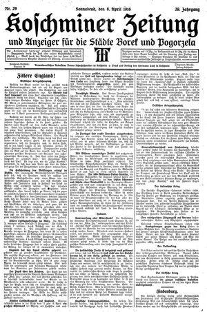 Koschminer Zeitung und Anzeiger für die Städte Borek und Pogorzela vom 08.04.1916