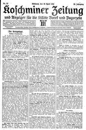 Koschminer Zeitung und Anzeiger für die Städte Borek und Pogorzela vom 19.04.1916