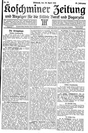 Koschminer Zeitung und Anzeiger für die Städte Borek und Pogorzela vom 26.04.1916