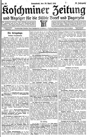 Koschminer Zeitung und Anzeiger für die Städte Borek und Pogorzela on Apr 29, 1916