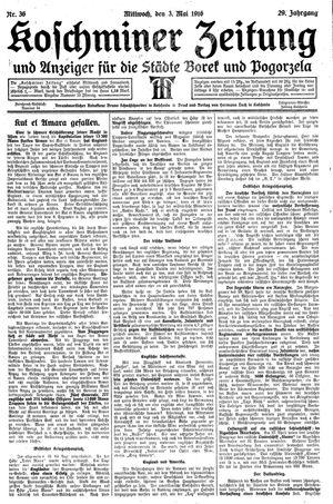 Koschminer Zeitung und Anzeiger für die Städte Borek und Pogorzela vom 03.05.1916