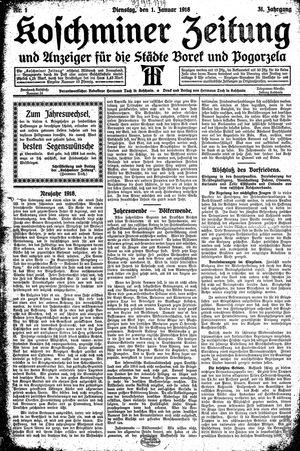 Koschminer Zeitung und Anzeiger für die Städte Borek und Pogorzela vom 01.01.1918