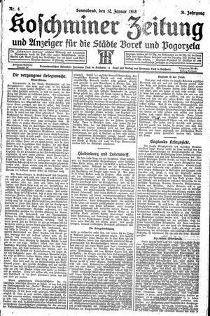 Koschminer Zeitung und Anzeiger für die Städte Borek und Pogorzela vom 12.01.1918