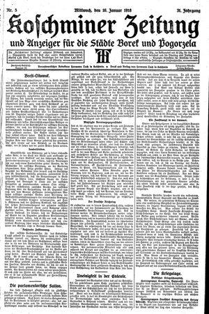 Koschminer Zeitung und Anzeiger für die Städte Borek und Pogorzela vom 16.01.1918