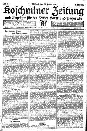 Koschminer Zeitung und Anzeiger für die Städte Borek und Pogorzela vom 23.01.1918