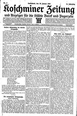 Koschminer Zeitung und Anzeiger für die Städte Borek und Pogorzela vom 26.01.1918