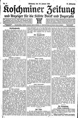 Koschminer Zeitung und Anzeiger für die Städte Borek und Pogorzela vom 30.01.1918