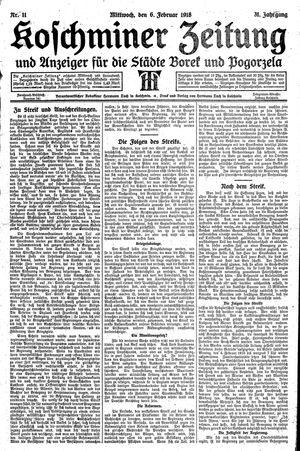 Koschminer Zeitung und Anzeiger für die Städte Borek und Pogorzela vom 06.02.1918