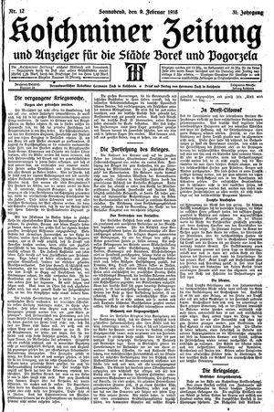 Koschminer Zeitung und Anzeiger für die Städte Borek und Pogorzela vom 09.02.1918