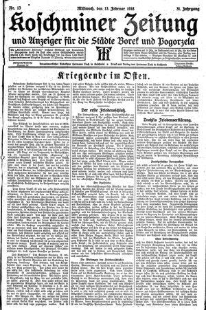 Koschminer Zeitung und Anzeiger für die Städte Borek und Pogorzela vom 13.02.1918