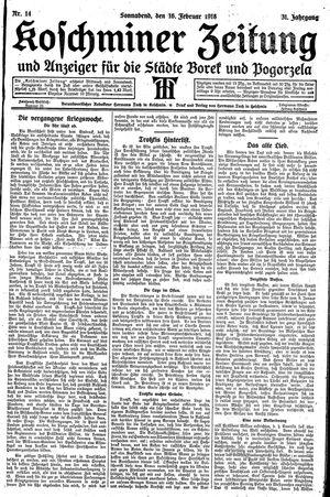 Koschminer Zeitung und Anzeiger für die Städte Borek und Pogorzela vom 16.02.1918