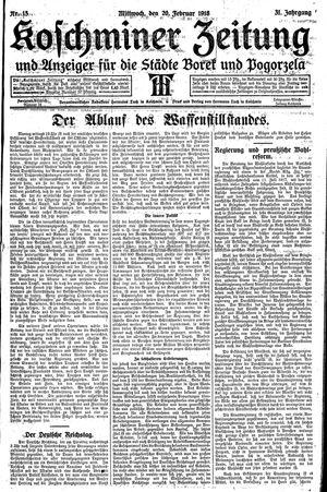 Koschminer Zeitung und Anzeiger für die Städte Borek und Pogorzela vom 20.02.1918