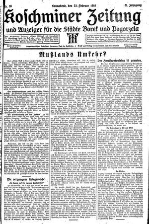 Koschminer Zeitung und Anzeiger für die Städte Borek und Pogorzela vom 23.02.1918
