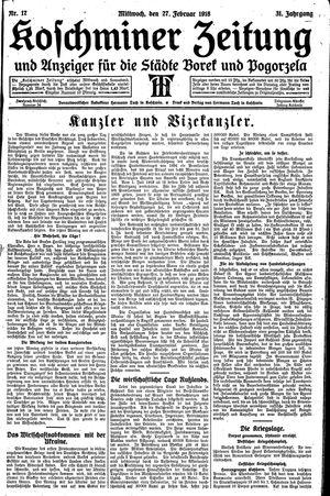 Koschminer Zeitung und Anzeiger für die Städte Borek und Pogorzela vom 27.02.1918
