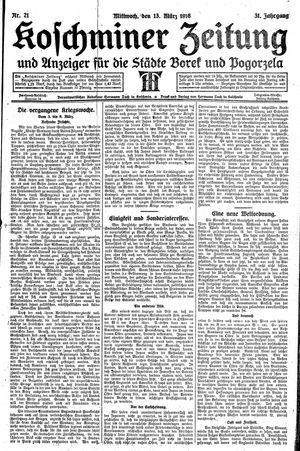Koschminer Zeitung und Anzeiger für die Städte Borek und Pogorzela vom 13.03.1918