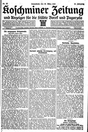 Koschminer Zeitung und Anzeiger für die Städte Borek und Pogorzela vom 16.03.1918