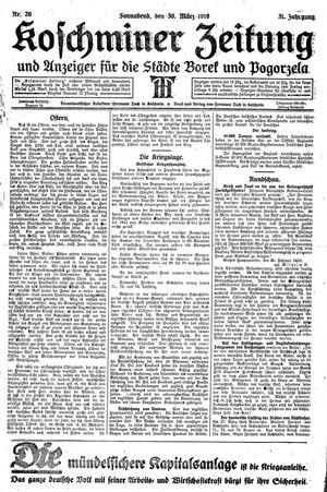 Koschminer Zeitung und Anzeiger für die Städte Borek und Pogorzela vom 30.03.1918