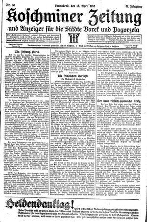 Koschminer Zeitung und Anzeiger für die Städte Borek und Pogorzela vom 13.04.1918