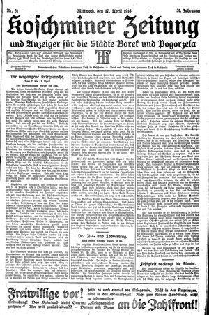 Koschminer Zeitung und Anzeiger für die Städte Borek und Pogorzela on Apr 17, 1918