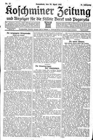 Koschminer Zeitung und Anzeiger für die Städte Borek und Pogorzela vom 20.04.1918