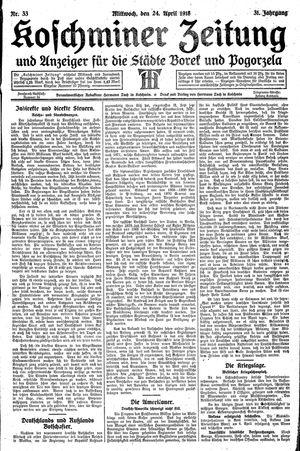 Koschminer Zeitung und Anzeiger für die Städte Borek und Pogorzela vom 24.04.1918