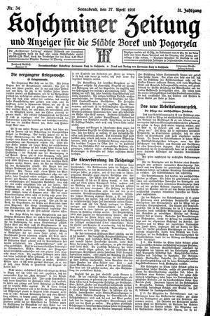 Koschminer Zeitung und Anzeiger für die Städte Borek und Pogorzela on Apr 27, 1918