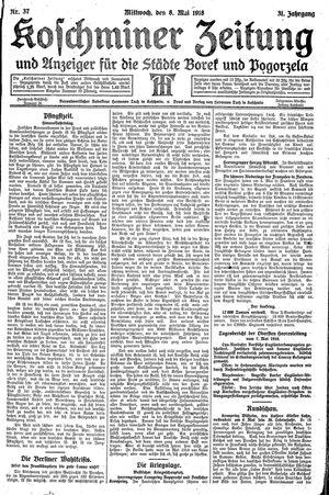 Koschminer Zeitung und Anzeiger für die Städte Borek und Pogorzela vom 08.05.1918