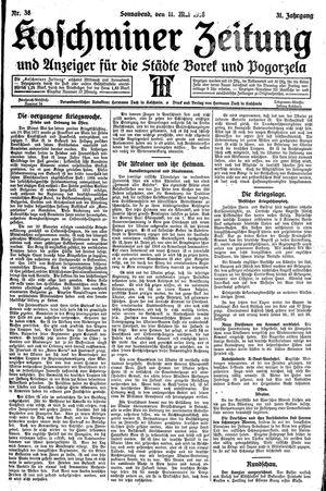 Koschminer Zeitung und Anzeiger für die Städte Borek und Pogorzela vom 11.05.1918