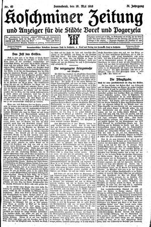 Koschminer Zeitung und Anzeiger für die Städte Borek und Pogorzela vom 18.05.1918